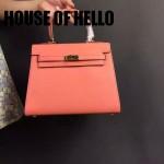 HOUSE OF HELLO-09 潮流時尚惡搞HERMES KELLY粉色十字紋皮大小號手提單肩包凱莉包