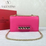 VALENTINO 1913-7 復古經典款女士玫紅色全皮鏈條單肩包晚宴包
