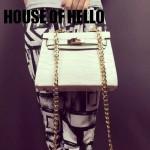 HOUSE OF HELLO-01 潮流時尚惡搞HERMES KELLY白色鱷魚紋皮大小號手提單肩包凱莉包