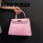 HOUSE OF HELLO-015 潮流時尚惡搞HERMES KELLY粉色蜥蜴紋皮大小號手提單肩包凱莉包