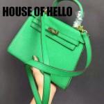 HOUSE OF HELLO-010 潮流時尚惡搞HERMES KELLY果綠色十字紋皮大小號手提單肩包凱莉包