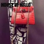 HOUSE OF HELLO-02 潮流時尚惡搞HERMES KELLY大紅色鱷魚紋皮大小號手提單肩包凱莉包
