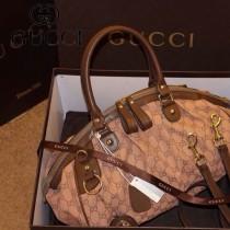 Gucci 223974-4 新款古馳女包手提包單肩斜挎帆布包水餃包