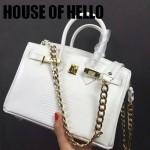 HOUSE OF HELLO-023 潮流時尚惡搞HERMES BIRKIN白色蜥蜴紋皮大小號手提單肩包鉑金包