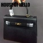 HOUSE OF HELLO-011 潮流時尚惡搞HERMES KELLY黑色十字紋皮大小號手提單肩包凱莉包