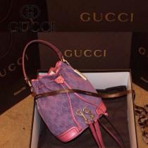 Gucci 197019 女包紫色牛仔布時尚女包斜挎單肩包餃子水桶包