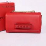 VALENTINO 1913-4 復古經典款女士紅色全皮鏈條單肩包晚宴包
