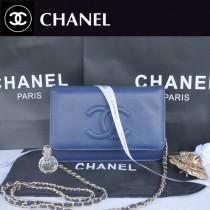 CHANEL 33817 秋冬新款寶藍色荔枝紋雙C單肩包鏈條小包