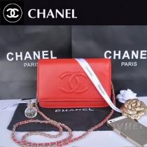CHANEL 33817-3 秋冬新款紅色荔枝紋雙C銀鏈單肩包鏈條小包