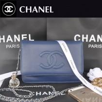 CHANEL 33817-4 秋冬新款寶藍色荔枝紋雙C銀鏈單肩包鏈條小包