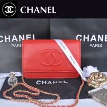 CHANEL 33817-2 秋冬新款紅色荔枝紋雙C單肩包鏈條小包