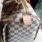 LV N41533-2 人氣熱銷經典款女士SPEEDY 30白色棋盤格原版皮波士頓包