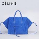 CELINE 88033-16 新款大牌藍色磨砂小牛皮女士時尚手提蝙蝠包