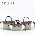 CELINE 88093-3 新款煙灰配棗紅配冰白(小號)女包手提包蝙蝠包