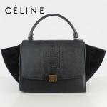 CELINE 88037-14 新款女款時尚黑色蛇紋配黑色原版皮配黑色磨砂單肩斜挎手提包秋千包