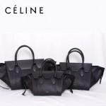 CELINE 88092-1 新款潮流時尚黑色配黑色蛇紋(中)女包手提包蝙蝠包
