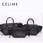 CELINE 88093-1 新款女士黑色配黑色蛇紋(小號)女包手提包蝙蝠包