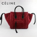 CELINE 88033-13 新款大牌酒紅磨砂小牛皮女士時尚手提蝙蝠包