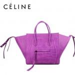 CELINE 88033-31 明星款大牌紫色鱷魚紋小牛皮女士時尚手提蝙蝠包