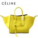 CELINE 88033-29 新款大牌原版皮檸檬黃小牛皮女士時尚手提蝙蝠包
