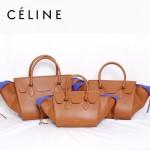 CELINE 88092-3 新款時尚潮流煙灰配棗紅配冰白(中號)女包手提包蝙蝠包