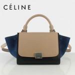 CELINE 88038-4 新款潮流Trapeze 耳朵秋千包蝦肉配藍色磨砂配黑女包