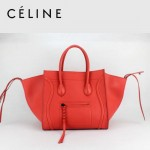 CELINE 88033-27 新款大牌西瓜紅小牛皮女士時尚手提蝙蝠包