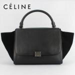 CELINE 88037-11 新款女款時尚黑色荔枝紋配磨沙皮單肩斜挎手提包秋千包