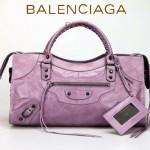 BALENCIAGA 085328-4 -茄紫進口小釘 巴黎世家女士時尚手提包 氣質單肩包