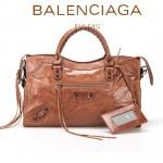 BALENCIAGA 085332-55-棕紅色進口油皮卡古銅小釘巴黎世家女士手提包 時尚單肩包