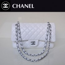 CHANEL 1112-9 熱銷風格大衆經典款白色銀鏈羊皮菱格單肩女包