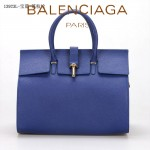 BALENCIAGA 13923L-寶藍色-荔枝紋 進口皮巴黎世家女士手提包