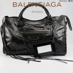 BALENCIAGA 085332-8-黑色進口油皮卡古銅小釘 巴黎世家女士手提包 時尚單肩包