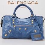 BALENCIAGA 085328B-1 -海藍進口金大釘 巴黎世家女士時尚手提包 氣質單肩包