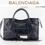 BALENCIAGA 085332-31-深寶藍進口油皮卡古銅小釘 巴黎世家女士手提包 時尚單肩包