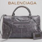 BALENCIAGA 085324S-3 -深灰進口小釘 巴黎世家女士時尚氣質手提包