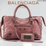 BALENCIAGA 085332-3 -粉紅色進口油皮卡古銅小釘 巴黎世家女士手提包 時尚單肩包