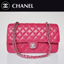 CHANEL 1113-28 經典休閑版玫紅色羊皮銀鏈女款包包
