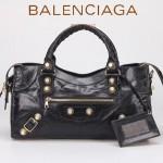 BALENCIAGA 085328B-2 -黑色進口金大釘 巴黎世家女士時尚手提包 氣質單肩包