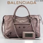 BALENCIAGA 085332-4 -粉紫色進口油皮卡古銅小釘 巴黎世家女士手提包 時尚單肩包