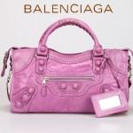 BALENCIAGA 828-淺紫-皮釘 巴黎世家進口皮單肩包 女士手提包