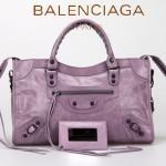 BALENCIAGA 085332-29-茄紫進口油皮卡古銅小釘 巴黎世家女士手提包 時尚單肩包