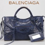 BALENCIAGA 085332-34-深藍進口油皮卡古銅小釘 巴黎世家女士手提包 時尚單肩包