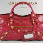 BALENCIAGA 084328B-3-紅色-羊皮 巴黎世家 女士時尚手提包