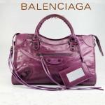 BALENCIAGA 085332-28-淺紫進口油皮卡古銅小釘 巴黎世家女士手提包 時尚單肩包