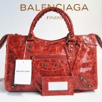 BALENCIAGA 084332-寶石紅 進口皮 巴黎世家女士手提包 時尚單肩包