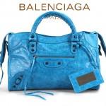 BALENCIAGA 332-1-天藍色-羊皮 巴黎世家時尚手提包 女士單肩包