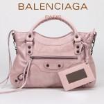 BALENCIAGA 085331-4 -淺粉進口油皮卡古銅小釘 巴黎世家女士手提包 時尚單肩包