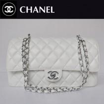 CHANEL 1113-7 歐美時尚白色銀鏈女包雙C菱格包小羊皮女士單肩包