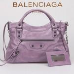 BALENCIAGA 085331-7 -茄紫進口油皮卡古銅小釘 巴黎世家女士手提包 時尚單肩包